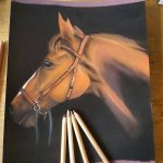hand drawn picture of a brown horse head
