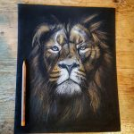 Finished drawing of a lion's head