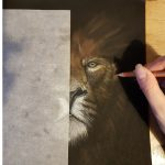 Kate drawing a lion's head