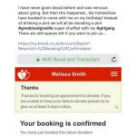 Scrrenshot of Give Blood booking confirmation