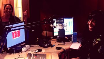 Photo of Sandra Godley and myself in the BBC studio
