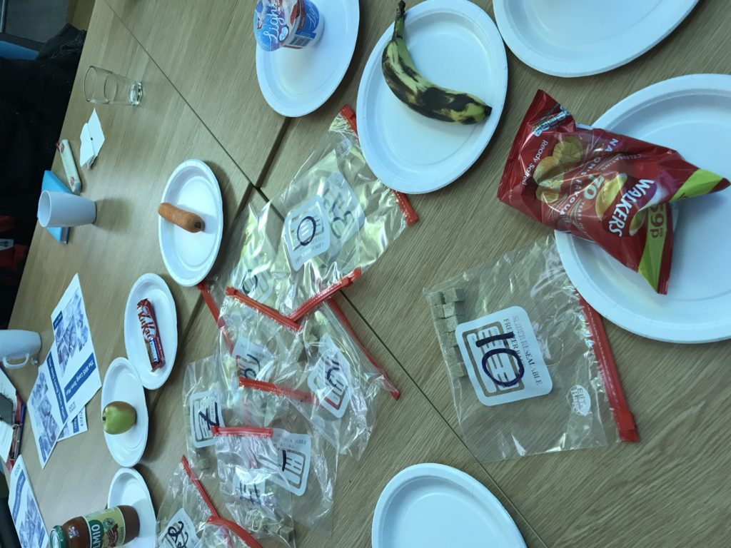 Food items and how many sugar cubes they contain