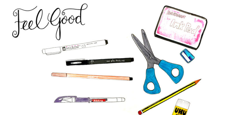 Hand drawn pens, pencils, scissors, ink pad