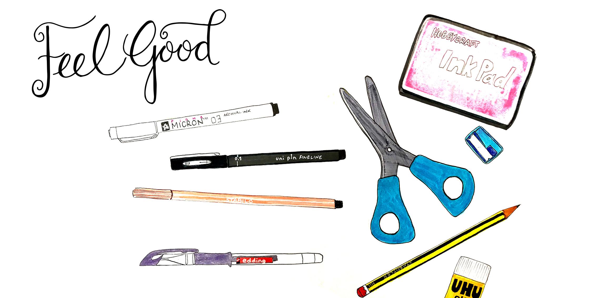 Hand drawn pens, pencils, scissors, ink pad