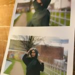 Two photos of a lady standing outside