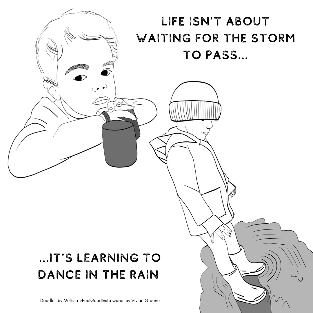 """One he is sitting inside with his hands crossed and a beaker in front of him. The other he is outside waering wellies, a rain mac and hat. He is standing in a puddle. The words say"""" Life isnt about waiting for the storm to pass. Its about learning to dance in the rain."""""""